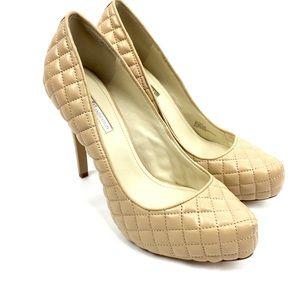 BCBGeneration Pixie Quilted Heels Size 9.5 M Beige